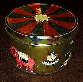 Vintage Decoware circus tin, big top, clown and animals