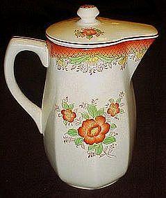 Mikori Ware lidded pitcher orange flowers