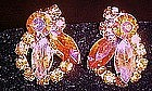 Pink and yellow aurora boralis rhinestone clip earrings