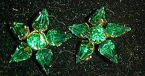 Emerald green  rhinestone scatter pin stars  duo