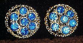 Gold tone blue rhinestone earrings, clips