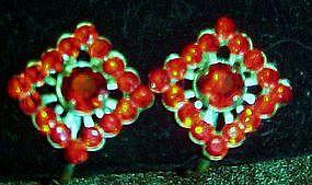 Vintage red rhinestone earrings, with screw backs