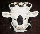 Black and white  ceramic cow head cookie jar