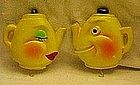 Anthropomorphic tea kettle, pot holder hangers