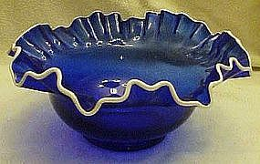 Cobalt blue crimped bowl with snow crest edge