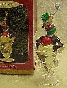 Hallmark Sundae golfer Christmas ornament 1999, MIB