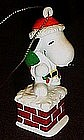 Santa Snoopy on chimney pvc Christmas ornament