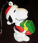 Snoopy Santa with gift  pvc Christmas ornament,