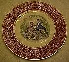 Godey Prints service plate, rust border, Salem China