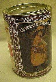 Uneeda Biscuit tin, bank, raincoat girl