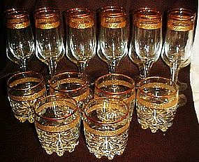 Elegant set of glass barware three sizes, service for 6