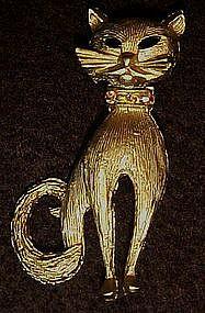 Vintage goldtone costume cat pin, rhinestone collar
