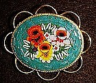 Mosaic floral pin, gold tone
