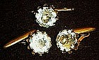 Vintage  rhinestone cuff links and tie bar set