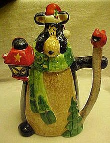 Whimsical  pitcher, woodland bear with lantern & staff