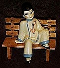Ceramic Arts Studio sitting chinese boy, shelf sitter