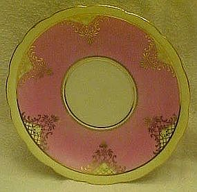 Czechoslovakia saucer, pink band and gold filigree