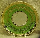 Czechoslovakia saucer, green with gold filigree