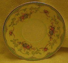Noritake saucer, Marlene pattern,  green with floral