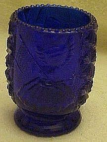 Cobalt blue Betsy Ross toothpick holder,daisy button