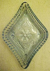 Tiara lt blue sandwich glass, diamond shape, nut dish
