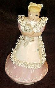 Vintage Kathy Lou figurine by Ynez, lady with cat