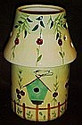 Large and painted candle lamp, birds and bird houses