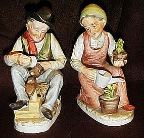 Old man & lady, hand painted bisque figures by Ardco