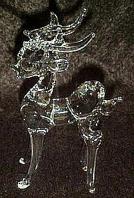 Hand blown clear crystal deer / reindeer figurine