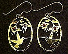 Hummingbird  earrings,  gold plated by Wild Bryd