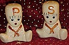 Vintage dough baby, pottery salt and pepper shakers