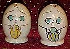 Vintage anthropomorphic egg head salt & pepper shakers