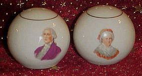 Martha and George Washington porcelain shakers