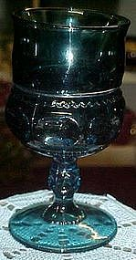 "Indiana Kings crown 4 1/4"" colonial blue wine glass"