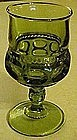 "Indiana kings crown 4 1/4"" green stemmed wine glass"