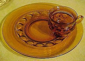 Indiana kings crown  amber / gold snack plate with cup