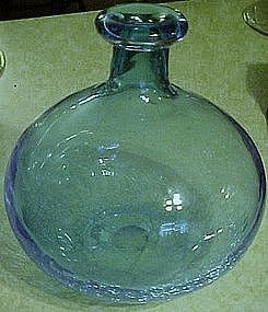 "Hand blown 8 3/4"" bulbous blue crackle vase"