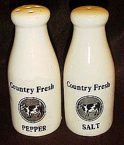 Country Fresh milk bottle s & p shakers, cows