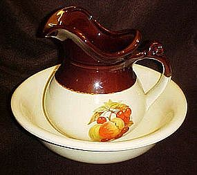 McCoy Fruit festival pitcher and basin set