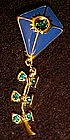 LIA enamel and rhinestone kite pin, moveable tail