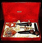 Gold plated ,bakelite bar utensil set, original box