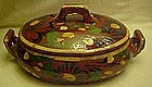 Vintage  Mexican pottery oval casserole and lid