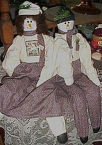 Snowman rag dolls, boy and girl