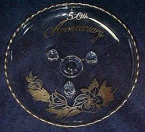 50th Anniversary three toed glass bowl silver overlay