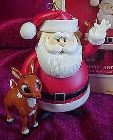 Hallmark keepsake ornament, Rudolph & Santa, lights up