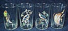 Exotic bird grinking glasses, set of 4