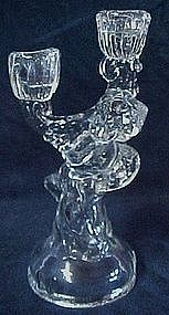 Glass cherub double candle holder