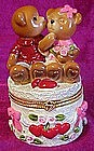 Ring or trinket box ,Valentine bears and hearts