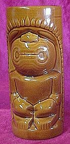 Glazed ceramic Tiki totem drink glass