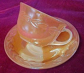 Fireking peach lustre laurel cup and saucer